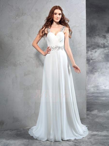 A-Line/Princess Sleeveless Sweetheart Pleats Chiffon Sweep/Brush Train Wedding Dresses