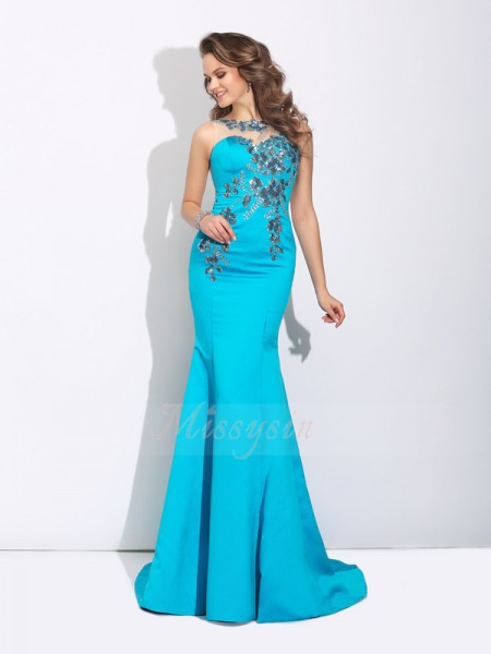Trumpet/Mermaid Sleeveless Scoop Applique Satin Sweep/Brush Train Dresses