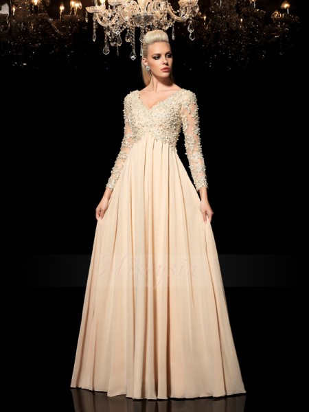 A-Line/Princess Long Sleeves V-neck Applique Chiffon Floor-Length Dresses