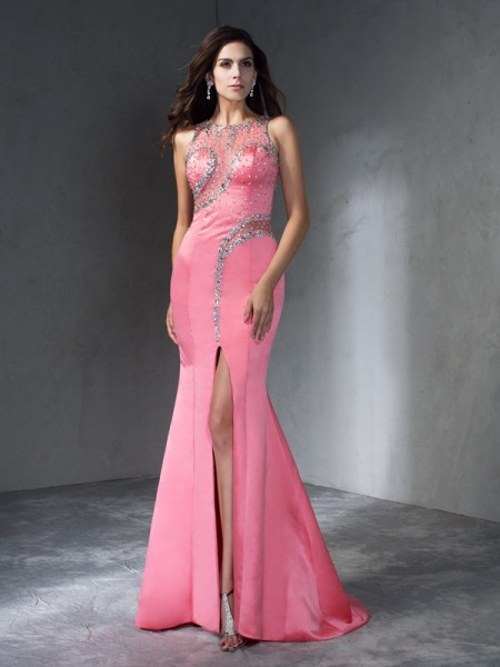 Trumpet/Mermaid Sleeveless Scoop Beading Satin Sweep/Brush Train Dresses