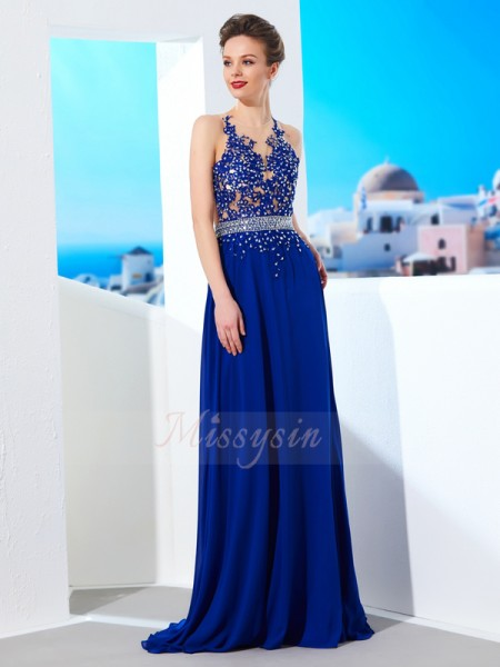 A-Line/Princess Sweep/Brush Train Sheer Neck Chiffon Applique Sleeveless Dresses