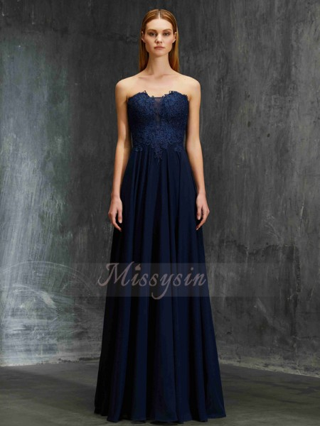 A-Line/Princess Floor-Length Sweetheart Chiffon Applique Sleeveless Dresses