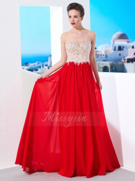A-Line/Princess Sweep/Brush Train Strapless Chiffon Beading Sleeveless Dresses