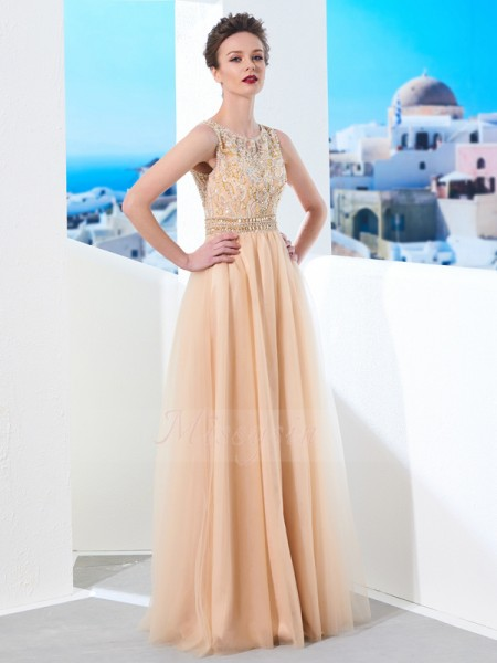 A-Line/Princess Floor-Length Scoop Tulle Beading Sleeveless Dresses