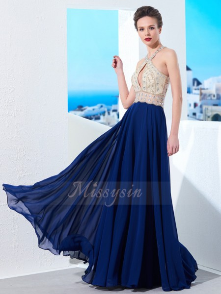 A-Line/Princess Floor-Length Straps Chiffon Beading Sleeveless Dresses