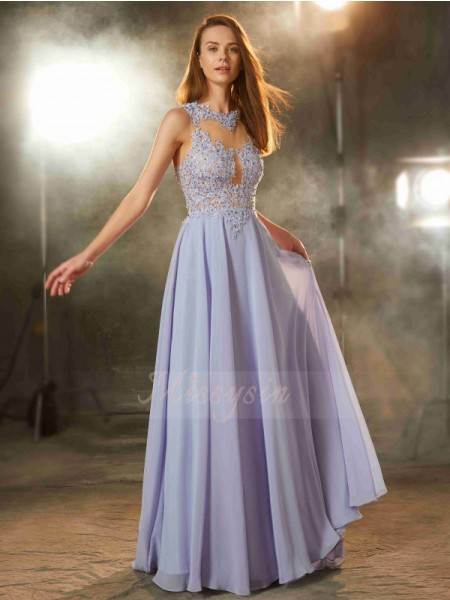 A-Line/Princess Floor-Length Scoop Chiffon Applique Sleeveless Dresses