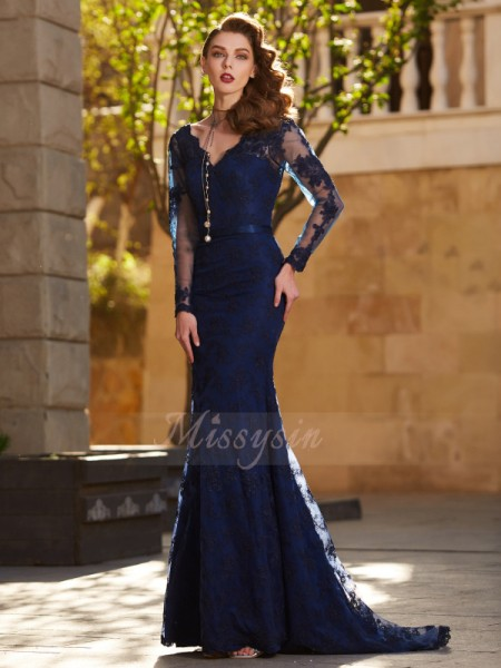 Trumpet/Mermaid Sweep/Brush Train V-neck Lace Applique Long Sleeves Dresses
