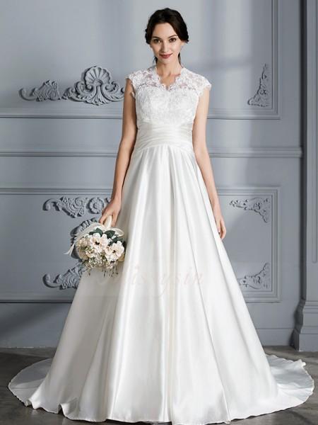 Ball Gown Sleeveless V-neck Satin Court Train Wedding Dresses