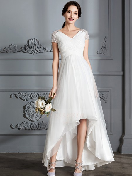 A-Line/Princess Short Sleeves V-neck Tulle Asymmetrical Wedding Dresses
