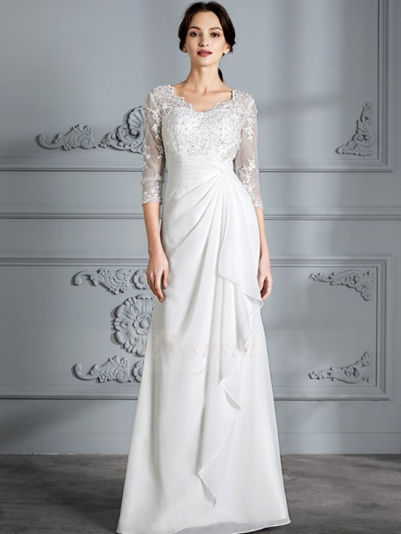 Sheath/Column 3/4 Sleeves V-neck Chiffon Floor-Length Wedding Dresses