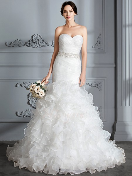 Trumpet/Mermaid Sleeveless Sweetheart Satin Sweep/Brush Train Wedding Dresses