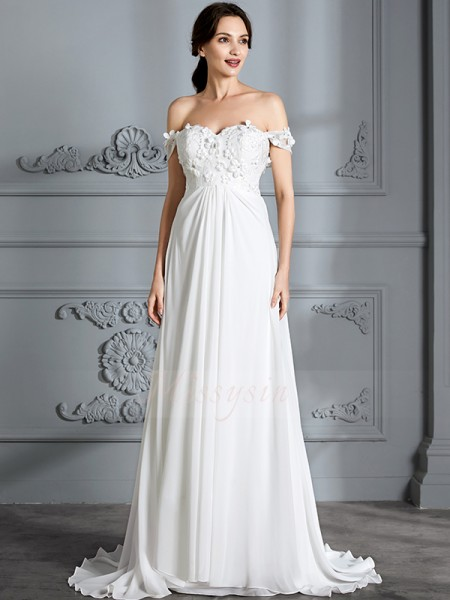 A-Line/Princess Sleeveless Off-the-Shoulder Chiffon Floor-Length Wedding Dresses