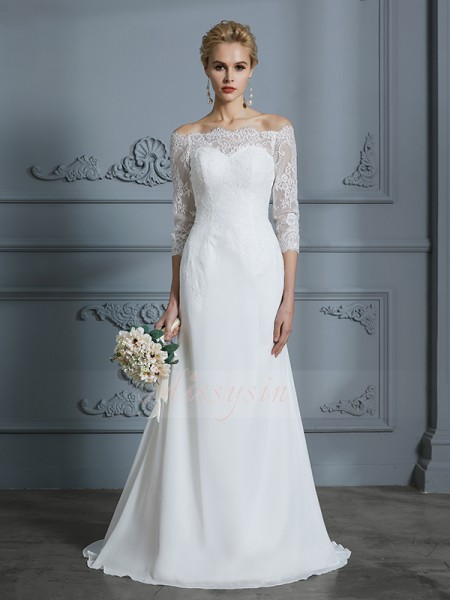 Trumpet/Mermaid 1/2 Sleeves Off-the-Shoulder Chiffon Sweep/Brush Train Wedding Dresses