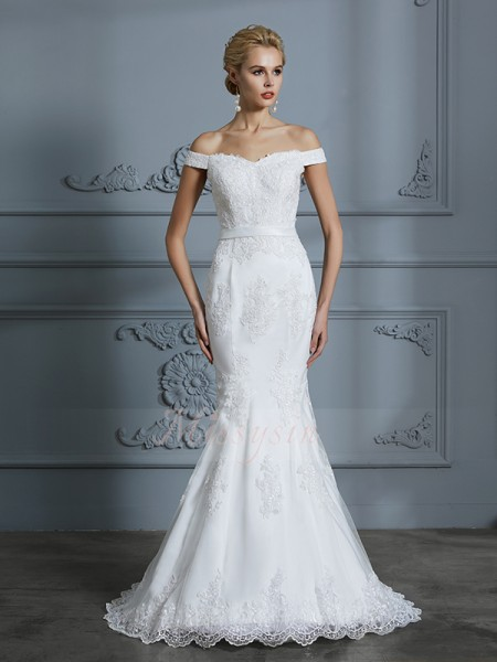 Trumpet/Mermaid Sleeveless Off-the-Shoulder Tulle Sweep/Brush Train Wedding Dresses