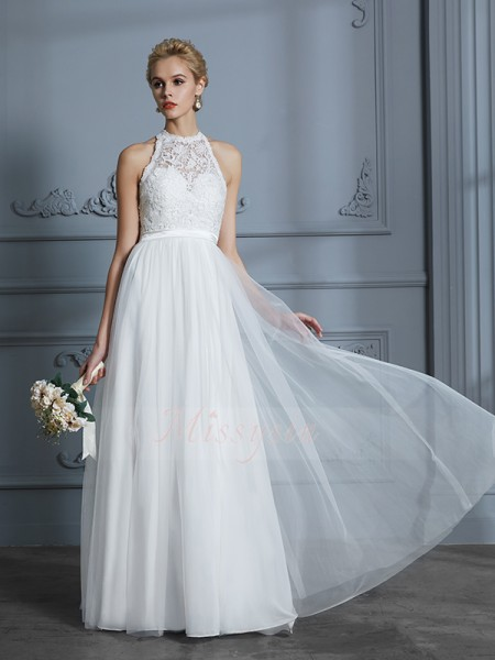 A-Line/Princess Sleeveless Scoop Tulle Floor-Length Wedding Dresses