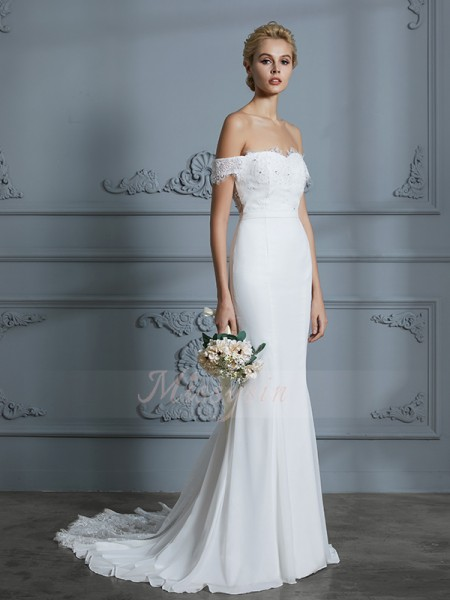 Trumpet/Mermaid Sleeveless Off-the-Shoulder Chiffon Sweep/Brush Train Wedding Dresses