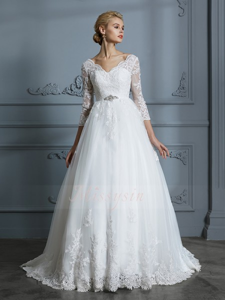 Ball Gown 3/4 Sleeves V-neck Tulle Court Train Wedding Dresses