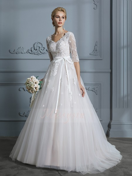 Ball Gown 1/2 Sleeves V-neck Tulle Court Train Wedding Dresses