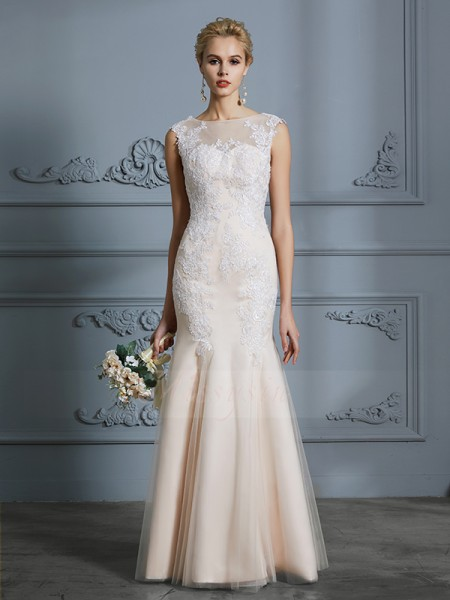 Trumpet/Mermaid Sleeveless Scoop Tulle Floor-Length Wedding Dresses