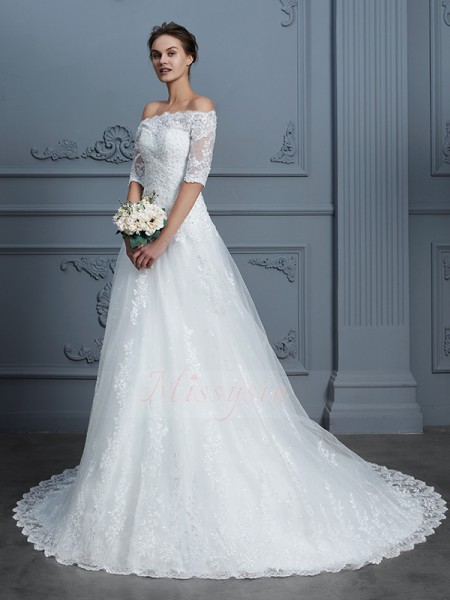 Ball Gown 1/2 Sleeves Off-the-Shoulder Lace Court Train Wedding Dresses