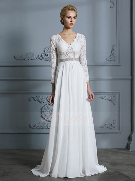 A-Line/Princess 3/4 Sleeves V-neck Chiffon Sweep/Brush Train Wedding Dresses