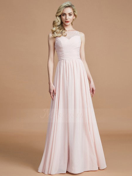 A-Line/Princess Sleeveless Chiffon Bateau Ruched Floor-Length Bridesmaid Dresses