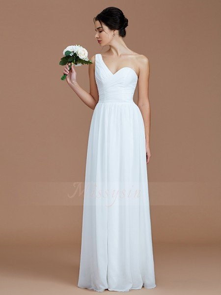 A-Line/Princess Sleeveless Chiffon One-Shoulder Ruched Floor-Length Bridesmaid Dresses