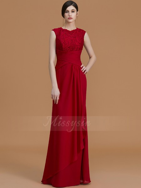Sheath/Column Sleeveless Chiffon Jewel Floor-Length Bridesmaid Dresses