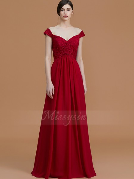 A-Line/Princess Sleeveless Chiffon V-neck Floor-Length Bridesmaid Dresses