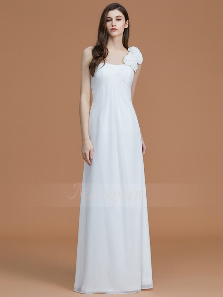 A-Line/Princess Sleeveless Chiffon One-Shoulder Hand-Made Flower Floor-Length Bridesmaid Dresses