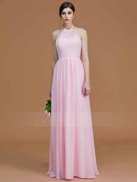 A-Line/Princess Sleeveless Chiffon Halter Ruched Floor-Length Bridesmaid Dresses