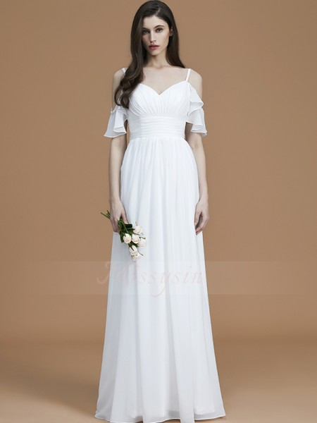 A-Line/Princess Sleeveless Chiffon Spaghetti Straps Ruffles Floor-Length Bridesmaid Dresses