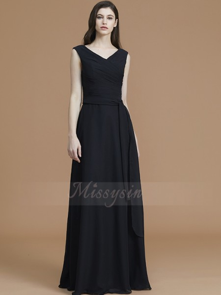 A-Line/Princess Sleeveless Chiffon V-neck Sash/Ribbon/Belt Floor-Length Bridesmaid Dresses