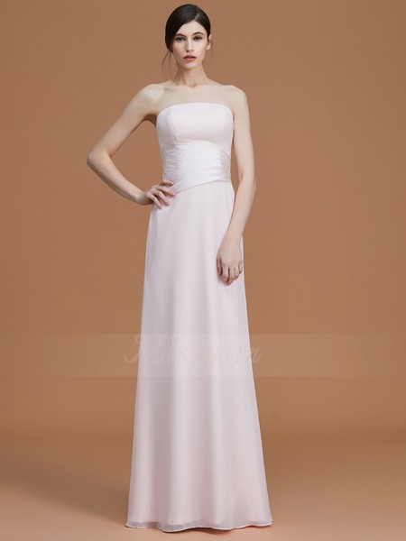 A-Line/Princess Sleeveless Chiffon Strapless Ruched Floor-Length Bridesmaid Dresses