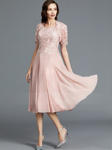 A-Line/Princess Scoop Sleeveless Chiffon Tea-Length Mother of the Bride Dresses