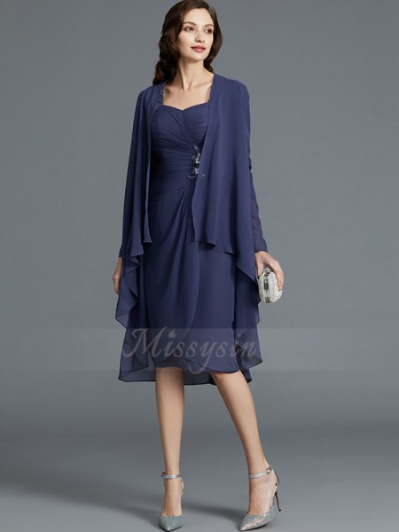 Sheath/Column Sweetheart 1/2 Sleeves Chiffon Knee-Length Mother of the Bride Dresses