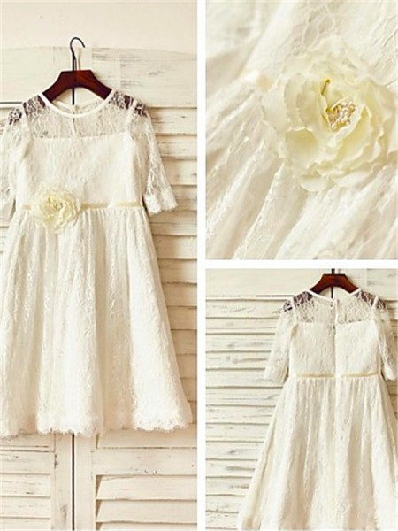 A-line/Princess Scoop Hand-made Flower 3/4 Sleeves Ankle-Length Lace Flower Girl Dresses