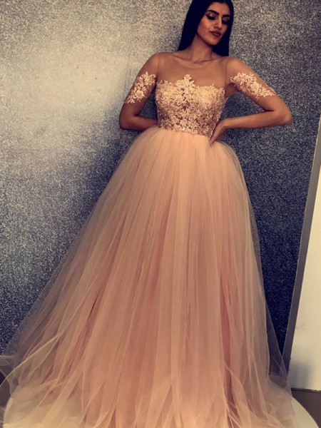 Ball Gown Short Sleeves Scoop Tulle Sweep/Brush Train Dresses