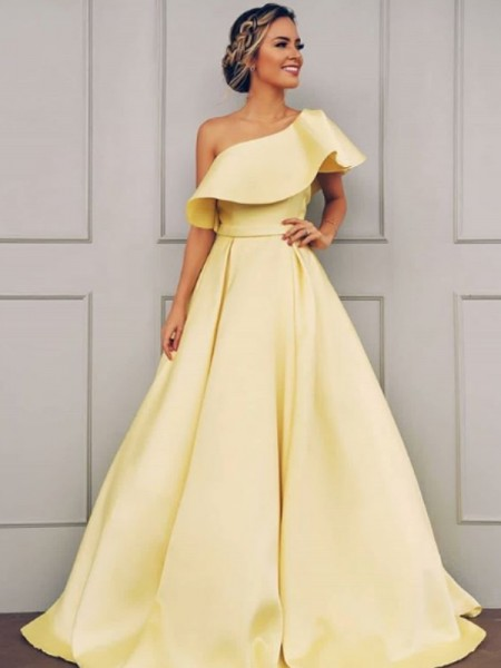 A-Line/Princess Satin Sweep/Brush Train One-Shoulder Sleeveless Dresses