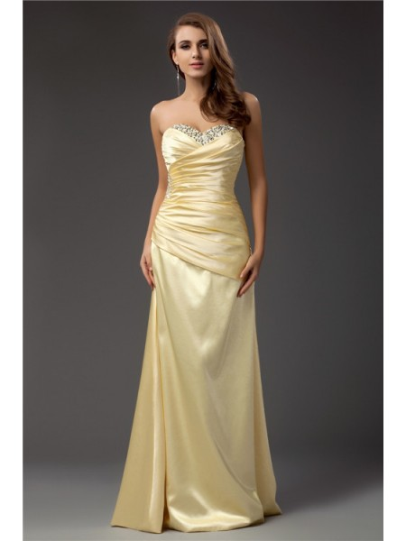 Sheath/Column Sweetheart Sleeveless Pleats,Beading Floor-Length Taffeta Dresses
