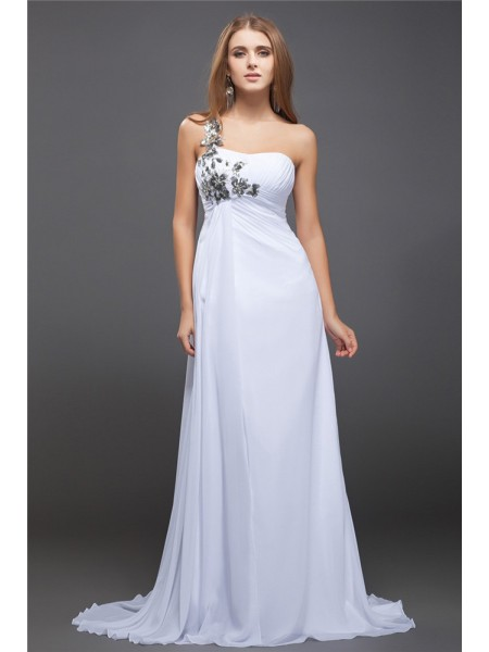 A-Line/Princess One-Shoulder Sleeveless Sequin Sweep/Brush Train Chiffon Dresses