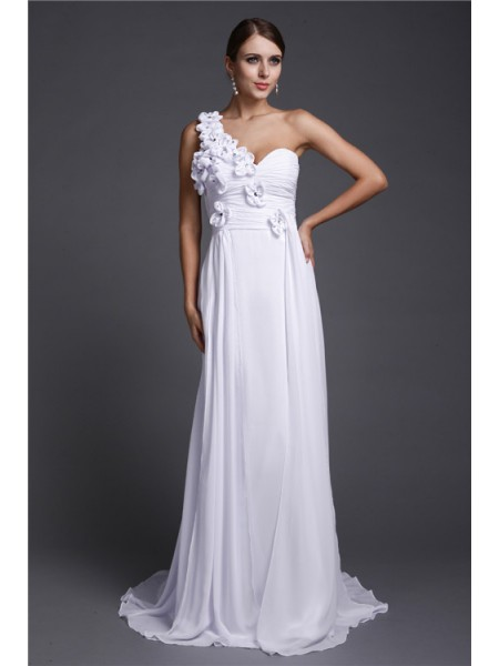 A-Line/Princess One-Shoulder Sleeveless Hand-Made Flower Sweep/Brush Train Chiffon Dresses
