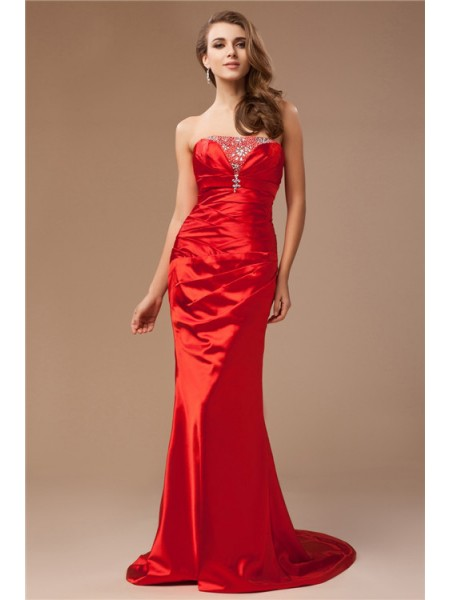 Trumpet/Mermaid Strapless Sleeveless Beading Sweep/Brush Train Taffeta Dresses