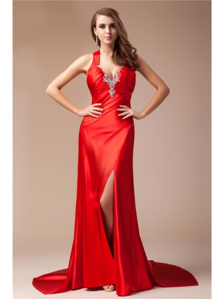 Sheath/Column V-neck Sleeveless Beading Sweep/Brush Train Elastic Woven Satin Dresses