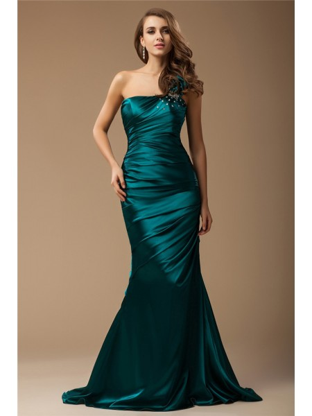 Trumpet/Mermaid One-Shoulder Sleeveless Ruffles,Beading Sweep/Brush Train Elastic Woven Satin Dresses