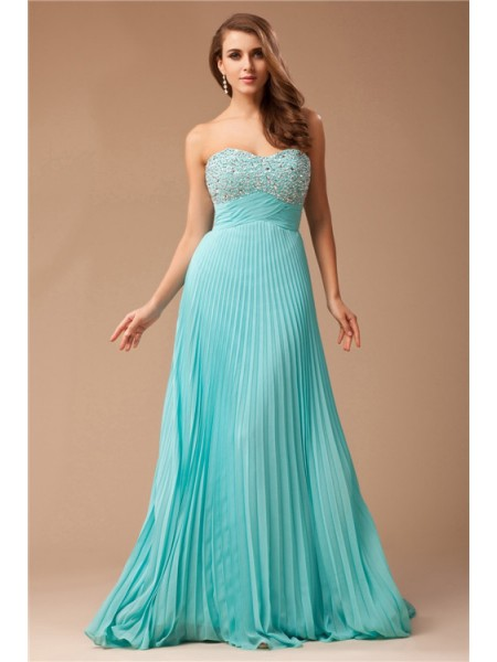 Empire Sweetheart Sleeveless Ruffles,Beading Floor-Length Chiffon Dresses