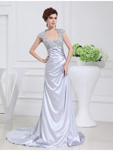 A-Line/Princess Scoop Sleeveless Beading , Sweep/Brush Train Elastic Woven Satin Dresses