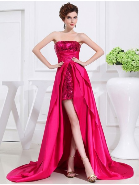 A-Line/Princess Strapless Sleeveless Applique Asymmetrical Taffeta Dresses