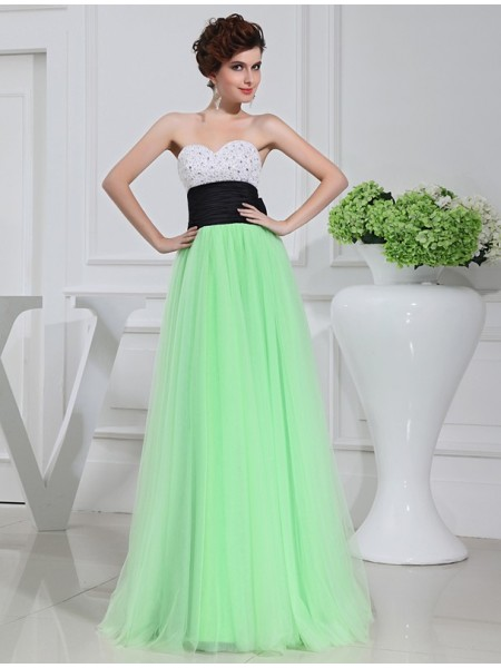 A-Line/Princess Sweetheart Sleeveless Beading,Bowknot Floor-Length Satin , Tulle Dresses