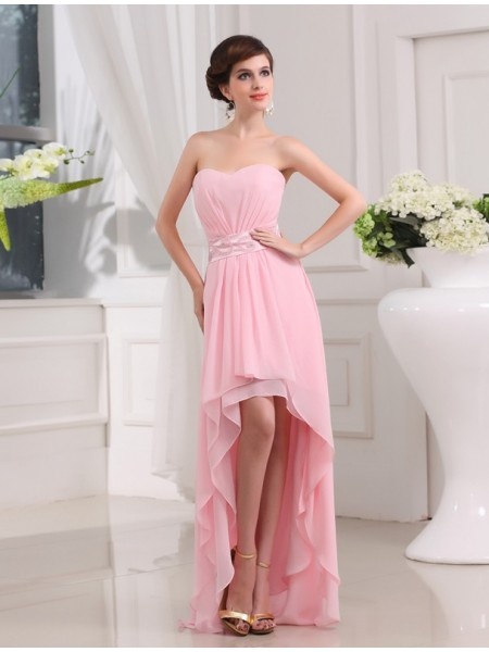 A-Line/Princess Sweetheart Sleeveless Beading Asymmetrical Chiffon Dresses